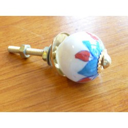 Mini knobs flower turquoise and red