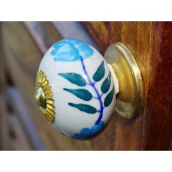 Porcelain knobs flower blue fougère