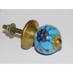 Furniture handle Turquoise and brown flowers
