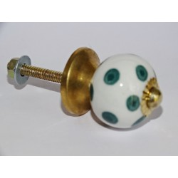 Furniture handle White with emerald green dots
