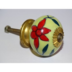 Handle yellow color furniture with red flowers