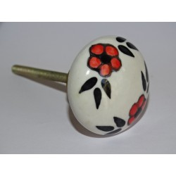 Handle of round furniture of red and black flowers