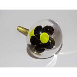 Furniture handle Transparent black flower