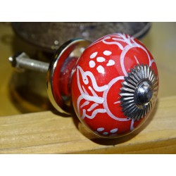 Drawer handle in red porcelain and white poppy