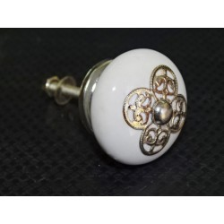 White porcelain handle with 4 round metal ornament