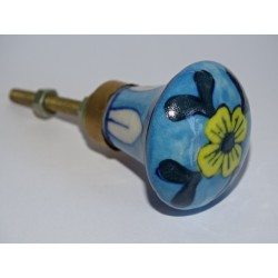 turquoise pear shaped button and yellow flower