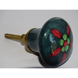 dark green porcelain button with red and green flower