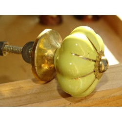 Mini yellow pumpkin buttons with gold line - 35 mm