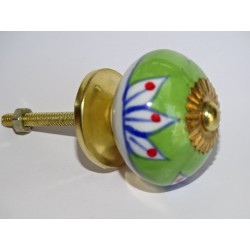 Spring green drawer or door knobs and water lily