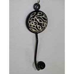 round porcelain coat hook with black flower