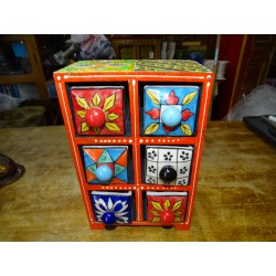 Vertical tea or spices box 6 ceramic drawers N ° 3