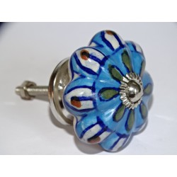 Pumpkin handle in turquoise porcelain and white petals - silver