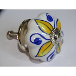 Pumpkin handle in white porcelain and 4 yellow petals - silver