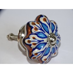 Pumpkin handle in brown porcelain and turquoise flower - silver