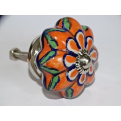 Pumpkin handle in white porcelain and 4 orange flames - silver