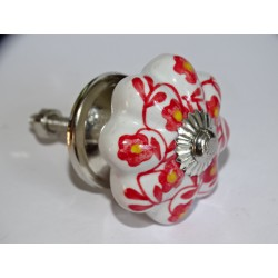 Pumpkin handle in white porcelain and red flower - silver