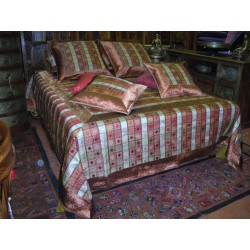 Quilt cover square white/red/copper color