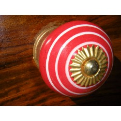 Ceramic knobs white line / vermilion