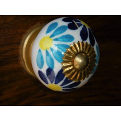 Porcelain knobs turquoise dark-blue