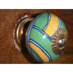 Porcelain knobs green and yellow