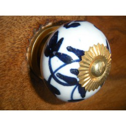 Porcelain knobs couronne flowers dark-blue ou blacke