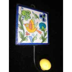 10x10cm ceramic hook Yellow Bird